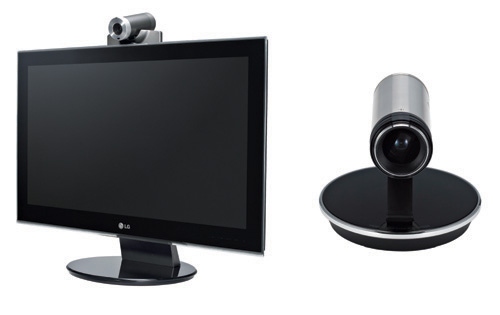 LG Network Monitor E Series with the camera placed on top of an LG monitor on the left, and a camera by itself on the right