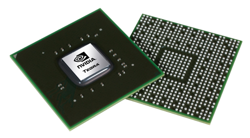 Front and rear views of NVDIA's Tegra 2 mobile processor.
