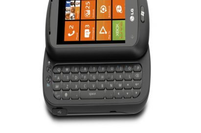 The LG Optimus 7Q on its side with its slidable keyboard open