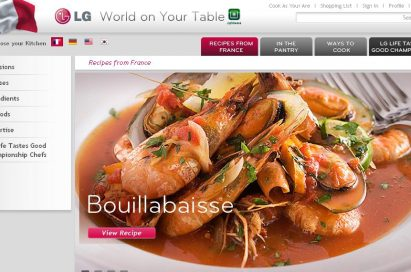 Screenshot of LG's online cooking portal 'recipes from France' section