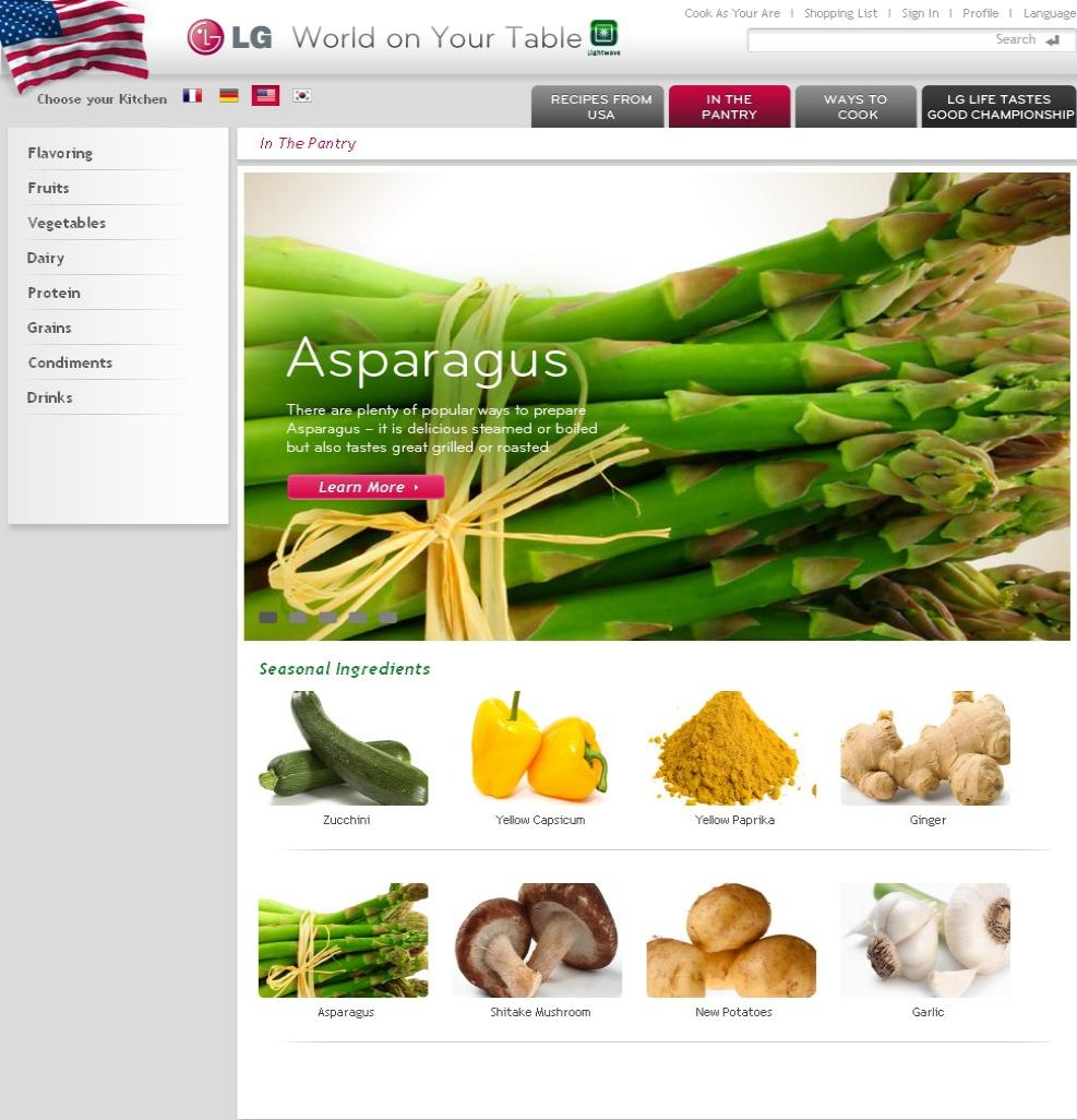 Screenshot of LG's online cooking portal 'in the pantry' section, with options to learn more about Asparagus, Zucchini and Garlic among others