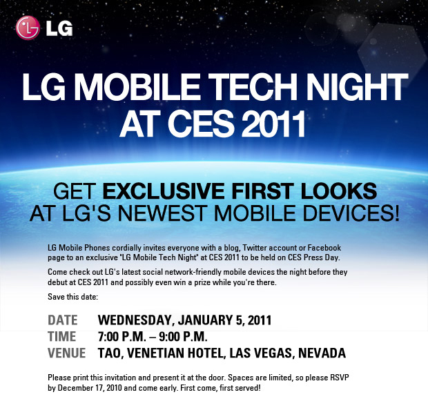 An invitation to LG Mobile Tech Night at CES 2011 with the sentence 'GET EXCLUSIVE FIRST LOOKS AT LG'S NEWEST MOBILE DEVICES!' in bold.
