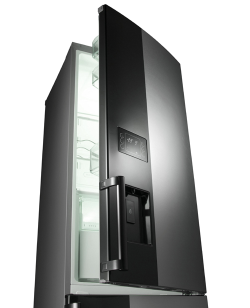 A picture of the LG Bottom-Freezer Refrigerator with its top door open 15 degrees