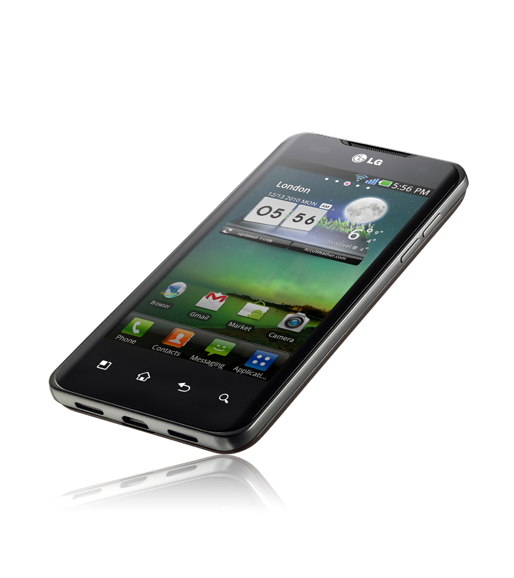Front view of the world's first and fastest Dual-Core Smartphone balancing on its bottom right corner, the LG Optimus 2X