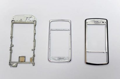 A teardown image of mobile phones to show where all the conventional magnesium is used inside