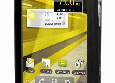 Front view of LG Optimus S in black facing slightly to the left