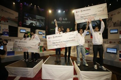 The top three teams of LG Mobile Worldcup Championship 2010-2011 stand on their respective podiums while holding up their prizes