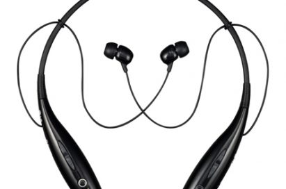 Birds-eye-view of the standard black LG HBS700 wireless stereo headset