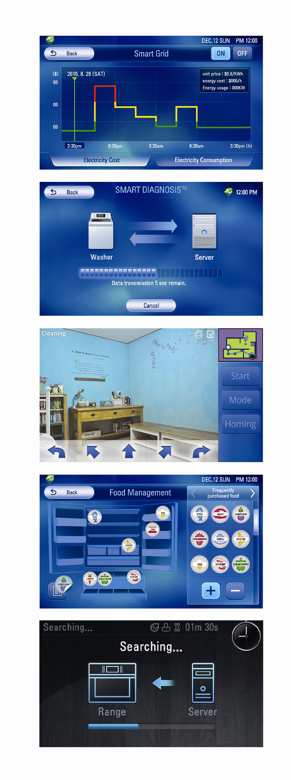 Mutliple screenshots of the LG TOTAL HOME APPLIANCE SOLUTION's user interface, featuring smart grid, smart diagnosis, food management and connection screen