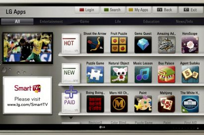A screenshot of the new LG SmartTV platform home screen