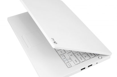 LG P210 notebook in white with its display open 45-degrees