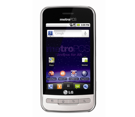 Front view of the white LG Optimus M