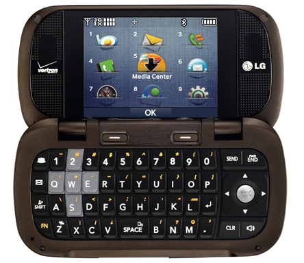 Rear view of the LG Octane while open, displaying the inside keyboard and display