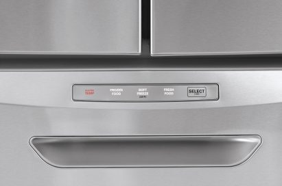 Close-up view of the new LG Four-Door French-Door refrigerator's Converta™ Drawer