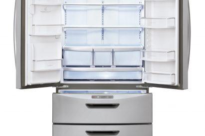 Front view of LG new Four-Door French-Door refrigerator with its upper two doors open
