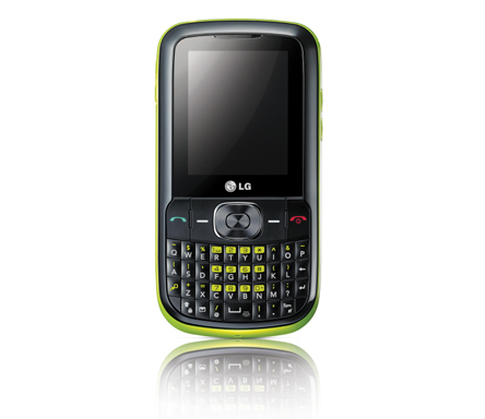 A front view of the LG C100 / C105 in black and lime