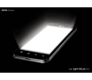 Promo shot of the LG Optimus Black emitting a burst of white light from its display