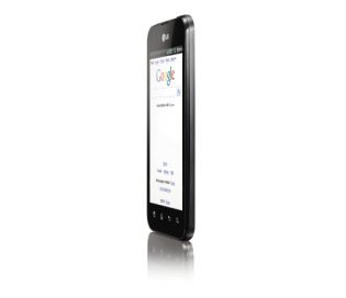Front view of the LG Optimus Black facing 75-degrees to the left while searching on Google