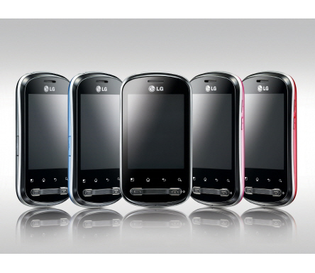Front view of the LG Optimus Me facing forward at numerous angles