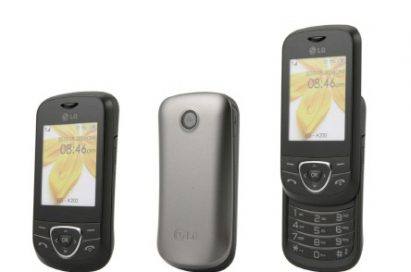 Front view of the LG A180 with its slidable keyboard open and closed at either side of a rear shot of the phone