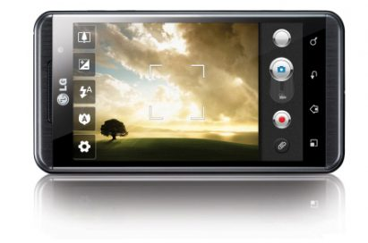 Front view of LG's OPTIMUS 3D PHONE in its horizontal position