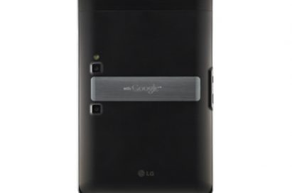 Rear view of the LG Optimus Pad in its vertical position