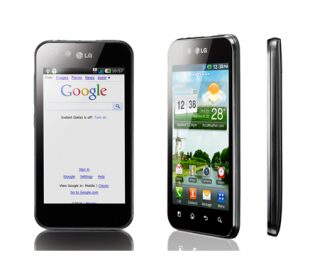 A front, side and 30-degree front view of the LG Optimus Black
