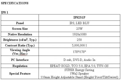 Specifications of LG SUPER LED IPS monitor model IPS231P
