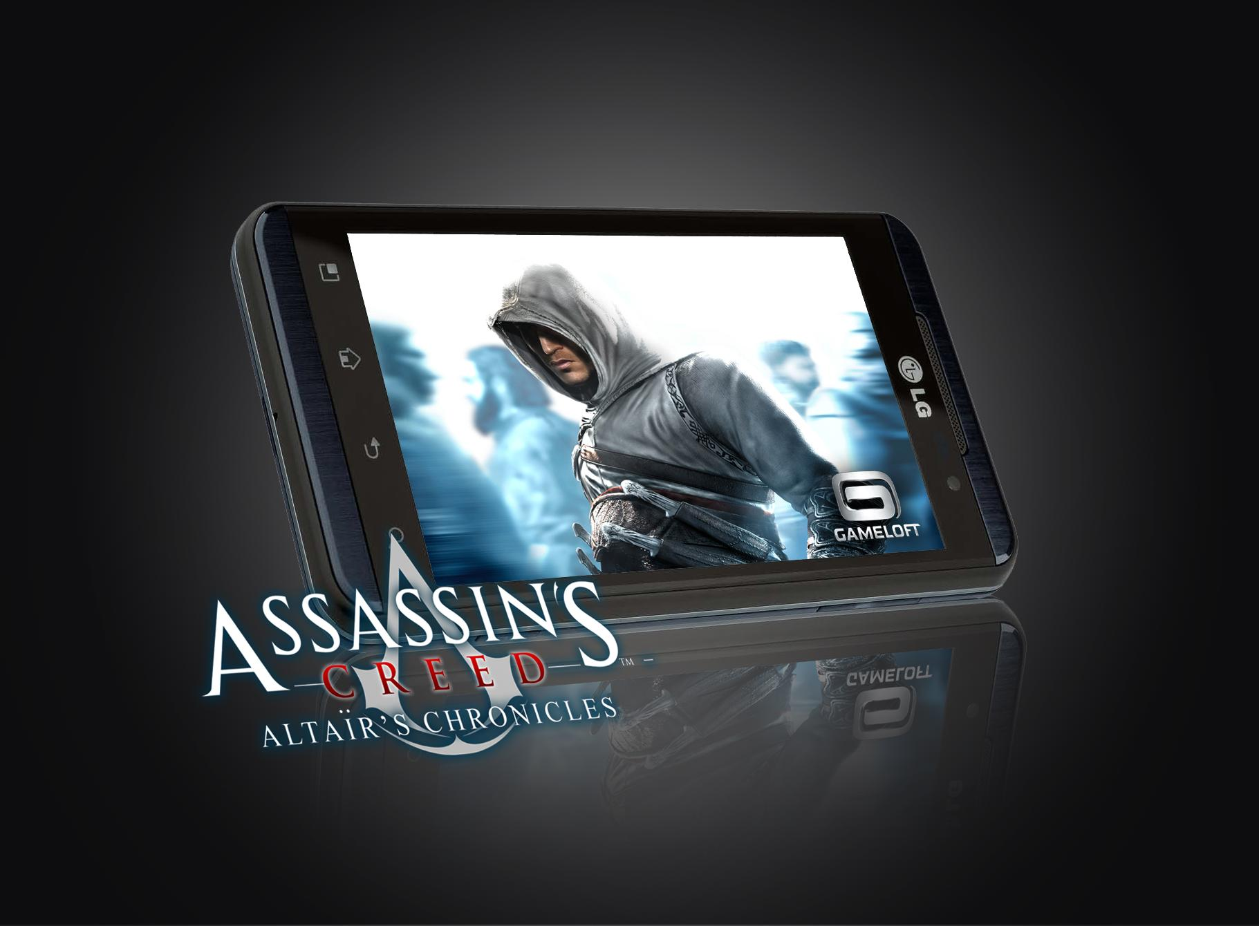 Gameloft's Assassin's Creed game image displayed on LG Optimus 3D