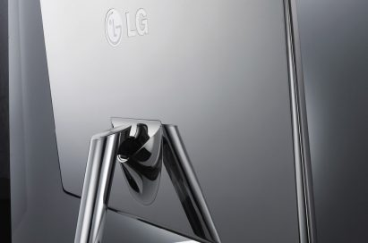 Rear view of LG's E91 monitor rotated 15 degrees to the right