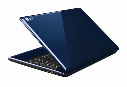 Rear view of the LG Aurora notebook in Blue with its display open 45-degrees.