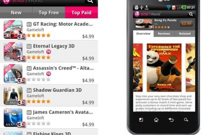 A list of Top Paid applications on LG SmartWorld and Overview page of the Kung Fu Panda game application on LG Smartworld via the LG Optimus 3D
