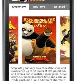 Overview page of the Kung Fu Panda game application on LG Smartworld via the LG Optimus 3D