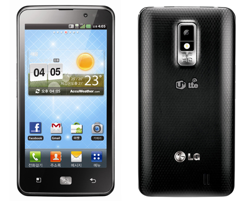 Front and rear views of LG Optimus LTE