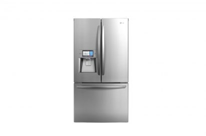 Front view of LG's large-capacity French-door refrigerator