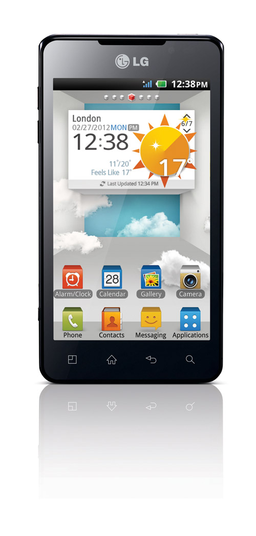 Front view of the LG OPTIMUS 3D MAX with a weather display on the screen