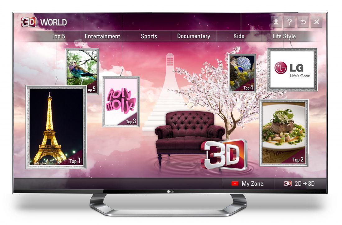 The Home of LG's 3D content platform, 3D World displayed on the screen of an LG TV