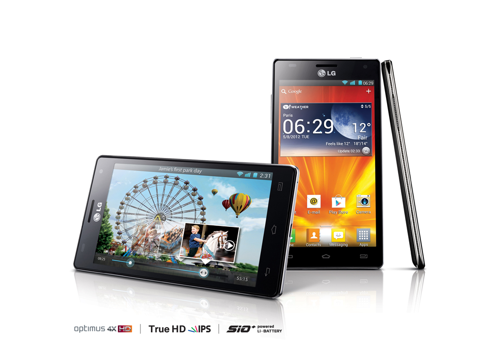 Front, back and side view of LG's quad-core smartphones