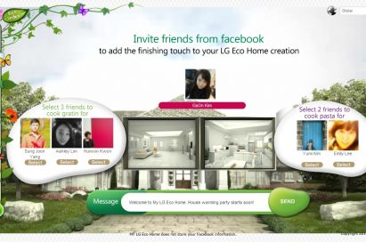 The 'Inviting Friends to my Eco Home' section of LG's Facebook campaign, 'My Eco Home'