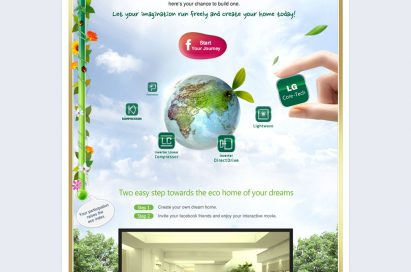 A Facebook page layout designed to promote LG's My Eco Home campaign and its official website