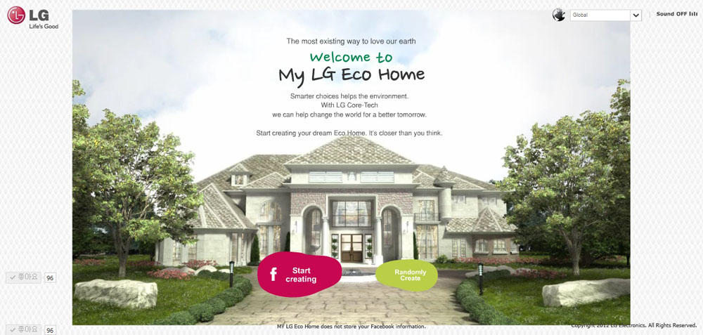 The main page of the official website for LG's My Eco Home campaign
