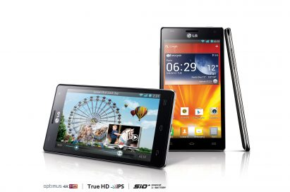 15-degree horizontal front, vertical front and side views of LG Optimus 4X HD above logos of Optimus 4X HD, True HD IPS and SiO+ technology