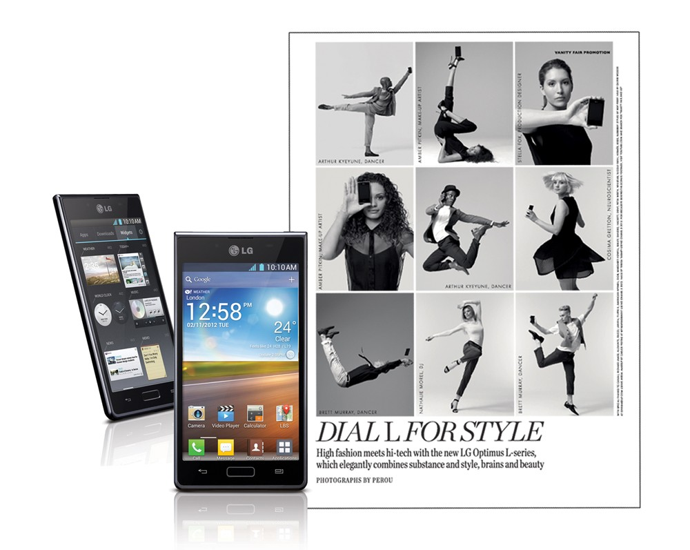 Another view of a fashion spread next to a front and rear view of the LG OPTIMUS L-SERIES