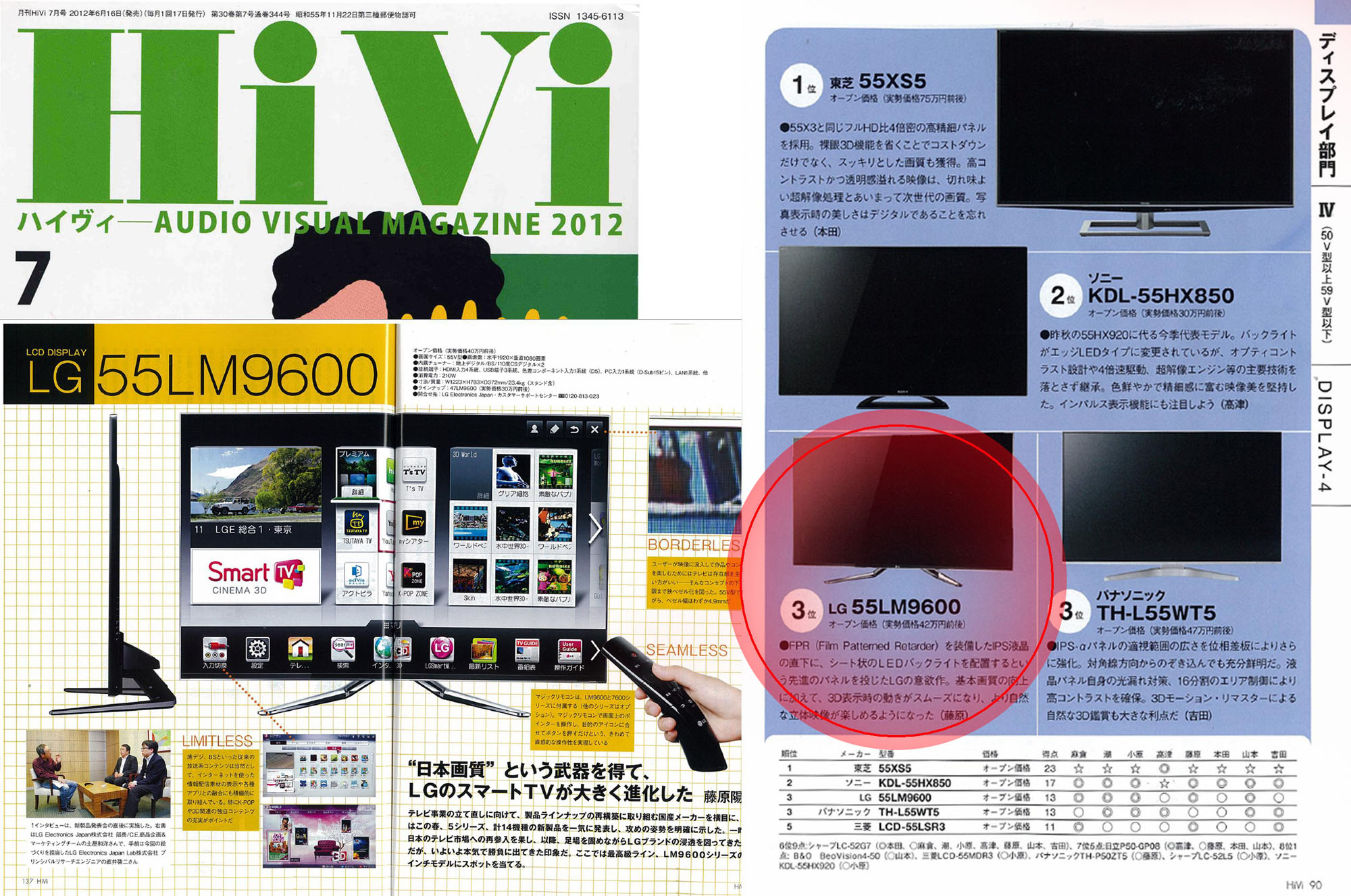 A cover of Japanese tech magazine HiVi and clippings of the magazine's pages that feature LG's 55LM9600 TV