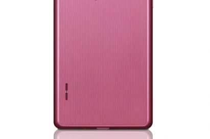 Rear view of the LG Optimus L7 smartphone in pink