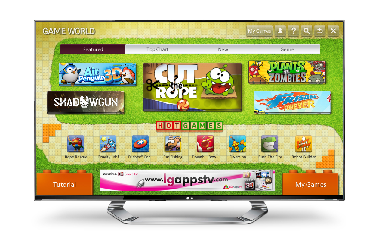LG's new Smart TV game portal 'Game World' displayed on an LG TV