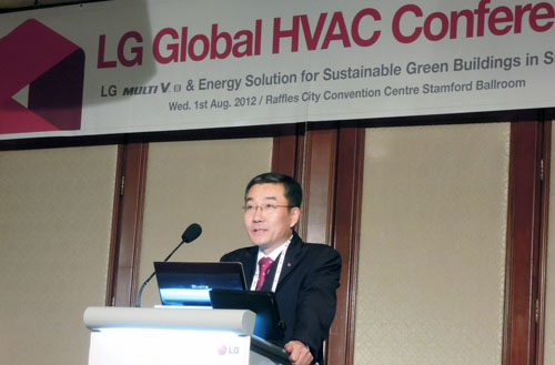 Kam-gyu Lee, president of the LG System Air Conditioning Business Unit, presenting at the LG Global HVAC Conference held at the Raffles City Convention Center
