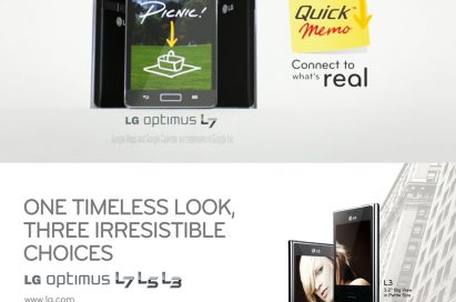 The QuickMemoTM feature is displayed on LG Optimus L7 on the top and front views of the LG Optimus L3, L5 and L7 are displayed at the bottom