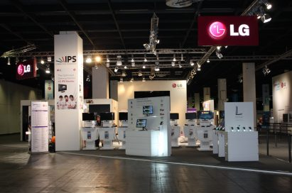 A wide view of LG's booth and its many IPS monitors at GAMESCOM 2012