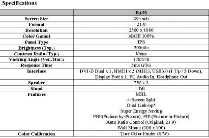 Specifications of LG premium IPS monitor model EA93